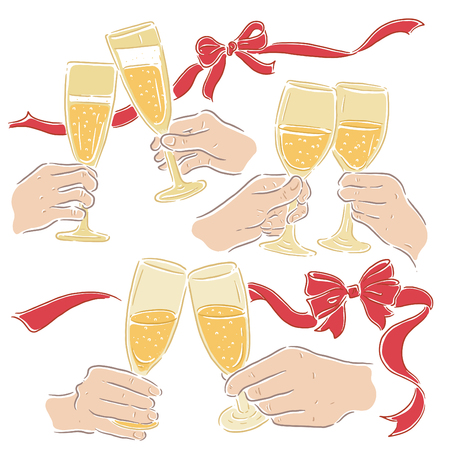 Hold wine glass to celebrate, vector illustration