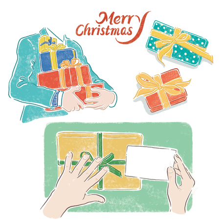 Christmas, packaging gift steps, Hand-painted illustrations