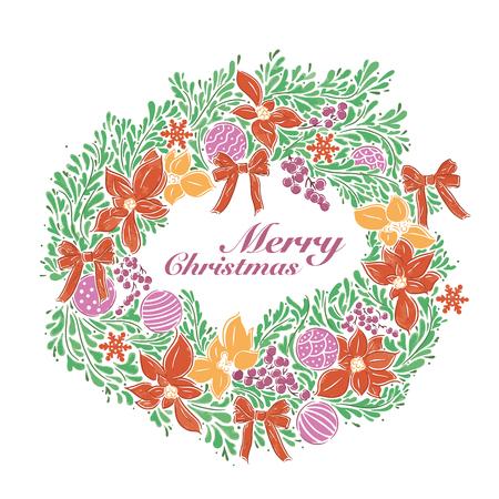 Christmas decoration wreath hand drawing, vector illustration
