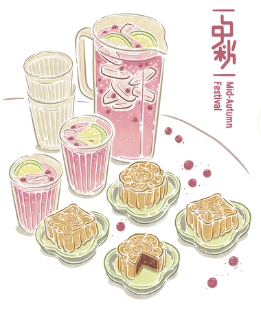Chinese mid autumn festival, food illustration Stock fotó
