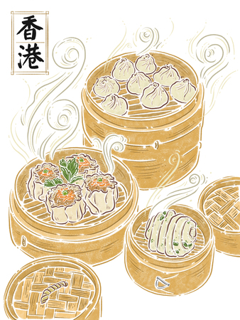 Hong Kong, yam cha , food illustation