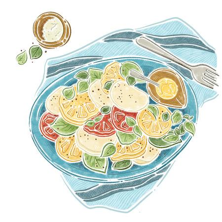 Mozzarella Basil Tomatoes, Hand Drawn Illustion, food illustion