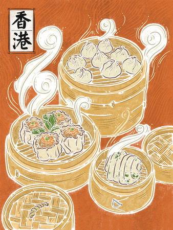 Hong Kong, asian food, food illustation