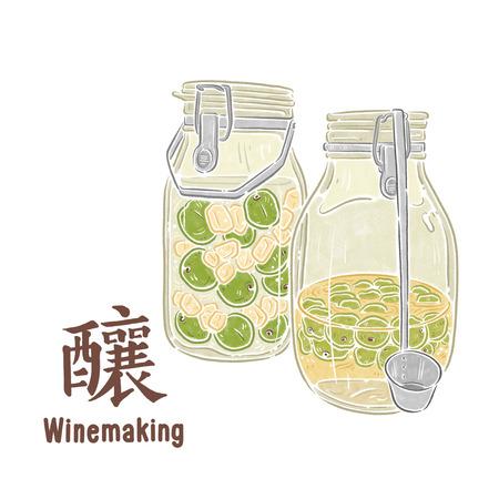 Plum wine,illustration, Chinese text means brewing Zdjęcie Seryjne