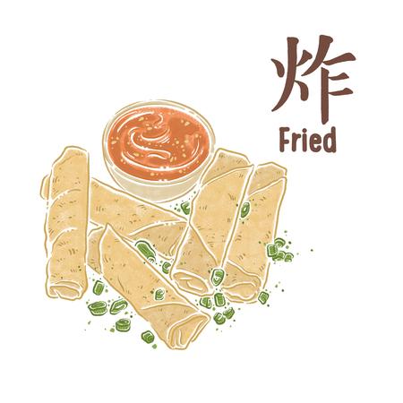 Fried food, spring rolls, asian food Zdjęcie Seryjne