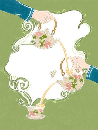 Chinese style tea illustration Zdjęcie Seryjne