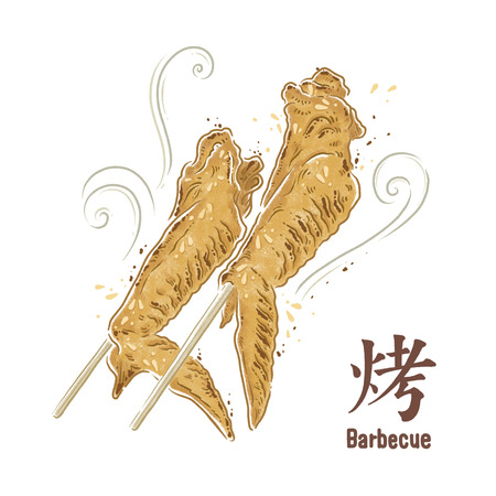 Barbecue foods illustration, Chicken wings