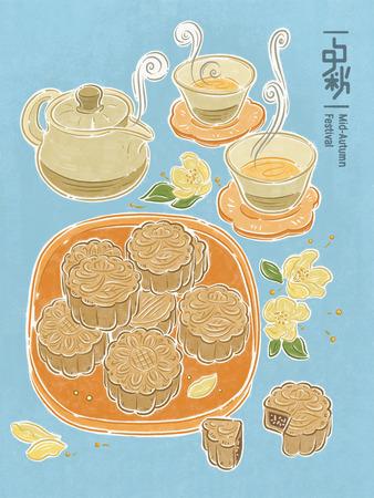 Chinese mid autumn festival. Mooncake and tea