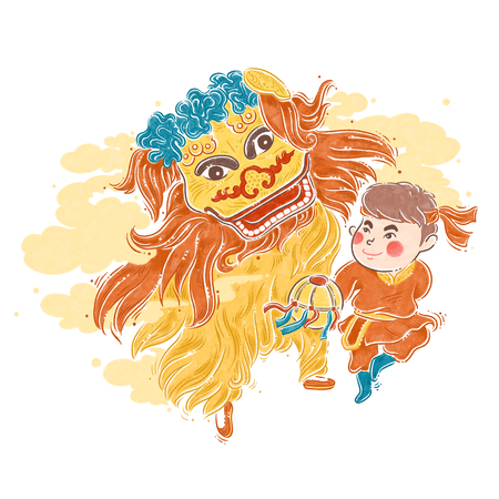 Chinese New Year traditional dance, Lion dance, illustration