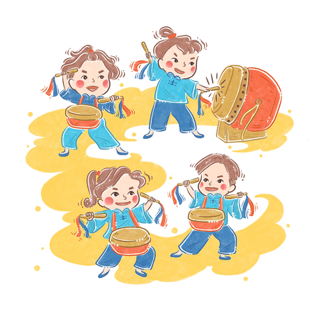 Chinese New Year traditional dance, Drum array, illustration