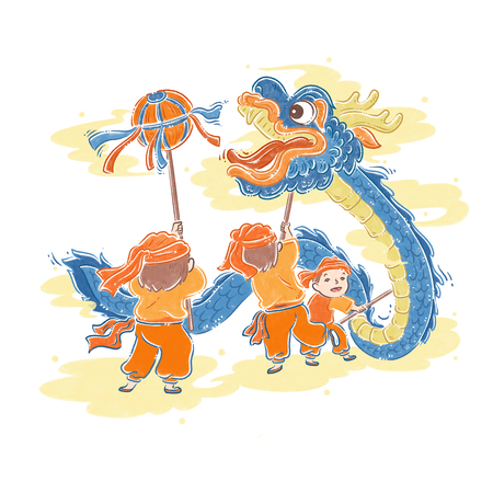 Chinese New Year traditional dance, dragon dance, illustration