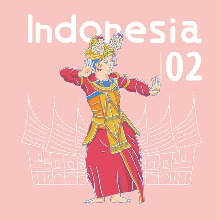 The Dance Festival, dancers dancing Indonesia traditional dance, vector illustration