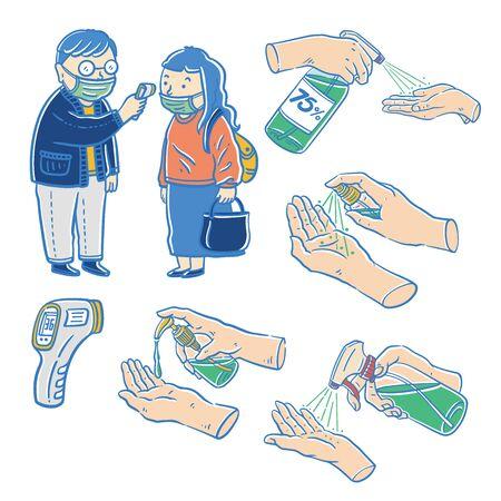 Forehead temperature, Epidemic prevention, vector illustration Ilustracja