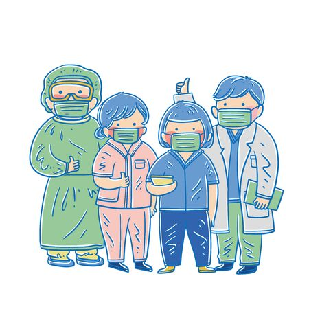 Medical staff flat vector illustrations set. Clinic personnel, doctors and nurses, people in medical gowns cartoon characters