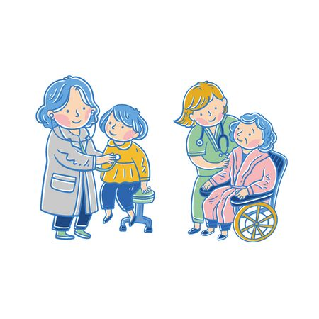 Doctors and patients. Medicine office staff hospital diagnosis treatment patient clinic doctor nurse professional help, vector illustration Ilustracja