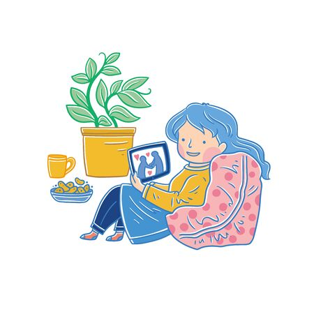 Social media addicted woman. Cartoon character relaxing at home, using tablet computer for web surfing, playing online games.