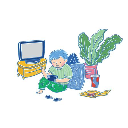 Social media addicted man. Cartoon character relaxing at home, using tablet computer for web surfing, playing online games.