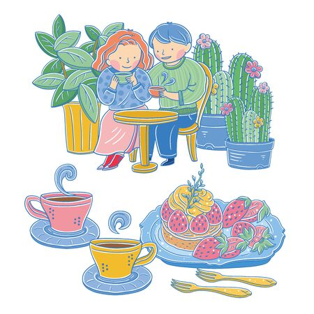 Vector illustration of couple characters drinking coffee