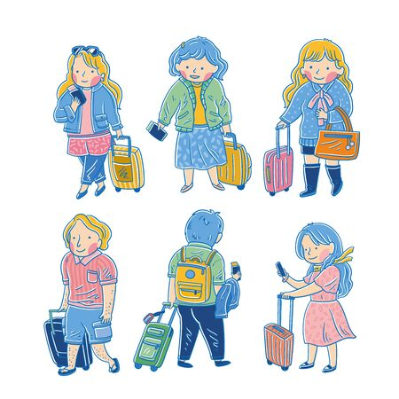 Cute character carrying a suitcase, vector illustration Ilustracja