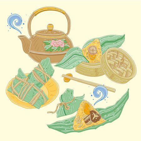Vector illustration of Asian Dragon Boat Festival dumplings with teapot