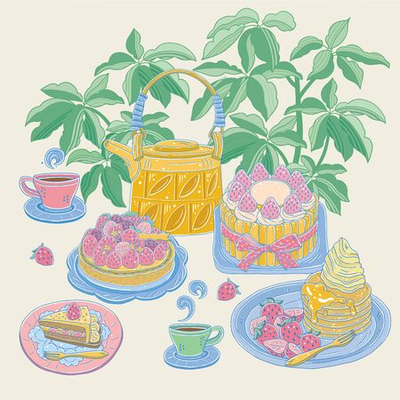 Vector illustration of various strawberry desserts with teapots and teacups on a background with plants