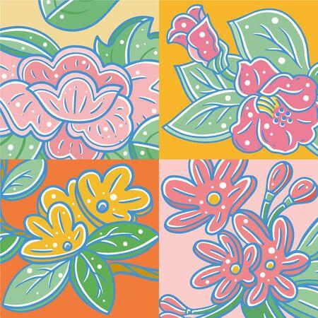 Cute cartoon style flowers, vector flower illustration