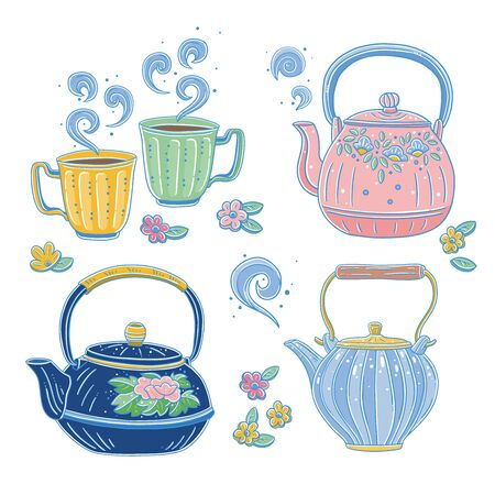 Vector illustration of flat effect teapot and teacup