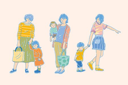 Vector illustration of shopping characters with mom and kids out