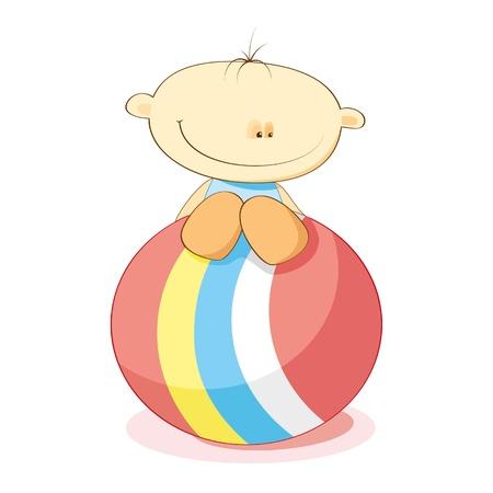 Ilustración de vector de dibujos animados con un poco de niño y pelota