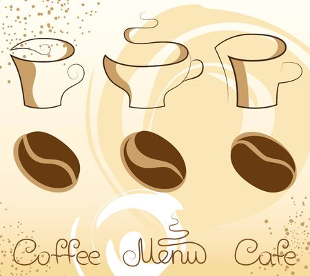 set with coffee stylized elements of cups, grains and inscriptions Vector