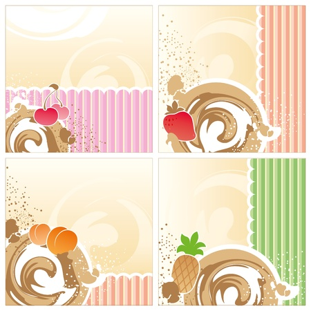 set of backgrounds with a dairy dessert, fruit and chocolate Vector