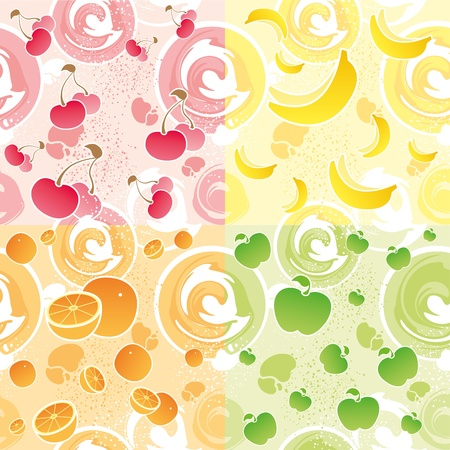 four seamless texture with a cherry, banana, orange and apple Vector
