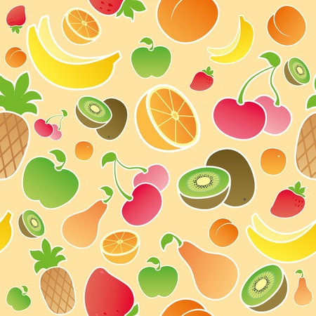 beige seamless texture with fruits and berries Vector