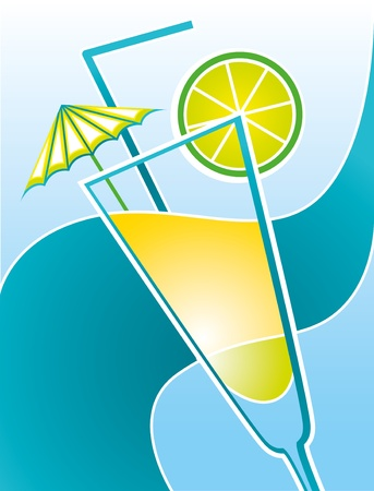 freshening: illustration with a cocktail and sea wave