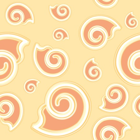cockle: cartoon beige seamless texture of a shell Illustration