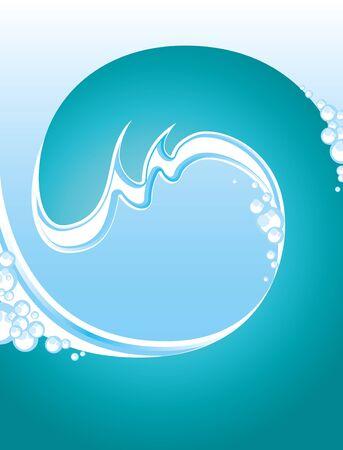tsunami wave: sea illustration with a twisting blue wave