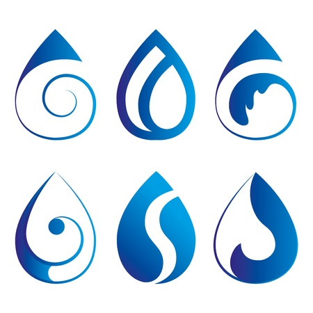watery: set di sei elegante goccia blu emblemi