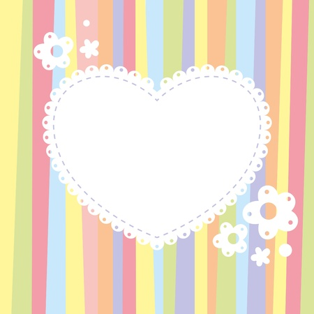 background with a heart on color strips Vector