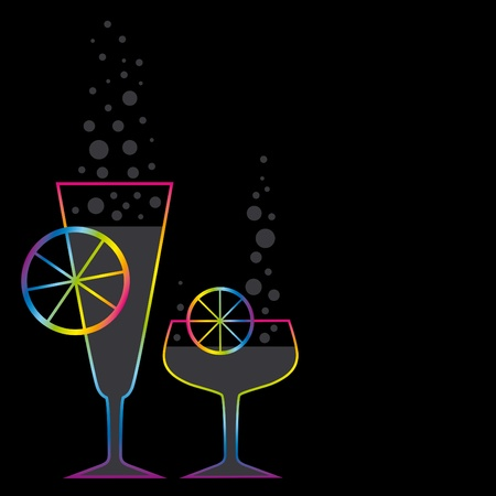 aerated: illustration with two coctails on black background