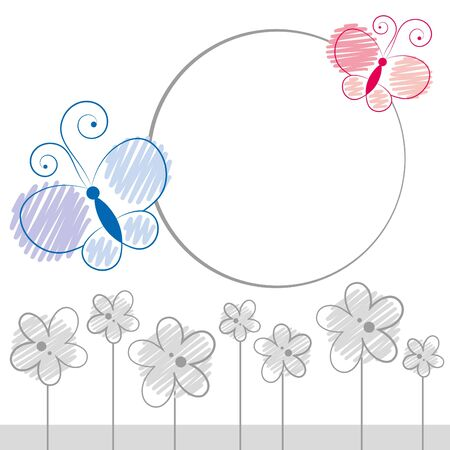 illustration with cartoon color butterflies and gray flowers Vector