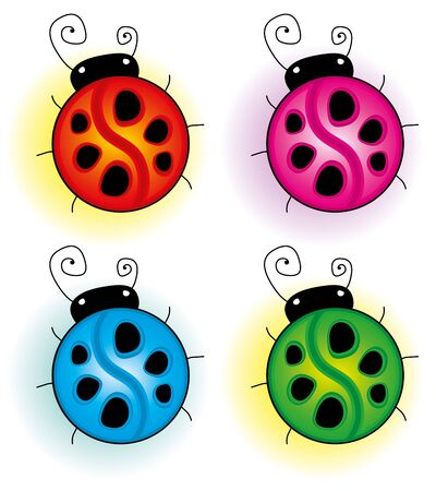 ladybug cartoon: set of colorful ladybirds on white background
