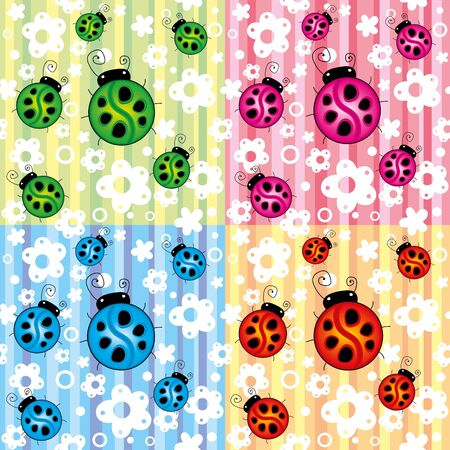 set of colorful seamless textures with ladybirds Vector