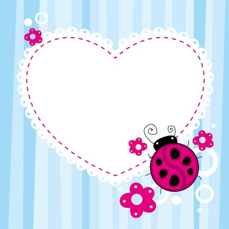 blue child background with a cartoon ladybird Vector