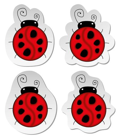 set of four stickers with red ladybugs photo