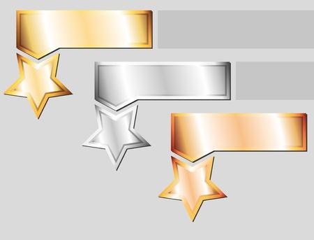 etoile or: ensemble de trois �l�ments m�talliques sur fond gris Illustration