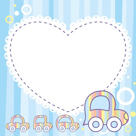blue child template with cute cartoon cars Stock Vector - 9923159