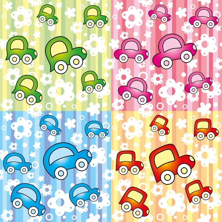 set of seamless pattern with colorful cars Stock Vector - 9923501