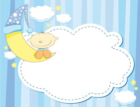 napping: blue cartoon background with a boy and a moon