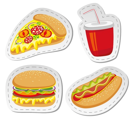 set of four stickers with fast food photo
