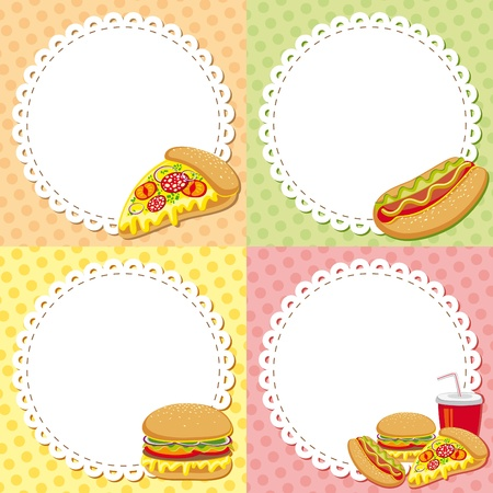 batch: set of four colorful fast food backgrounds